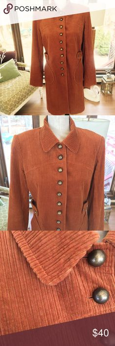 Penta Couture Look Rust Corduroy Coat Great Spring Rust color corduroy coat/jacket look .  Couture look with beautiful matching lining and nine brass buttons for closure.  Excellent condition! Penta Jackets & Coats Pea Coats