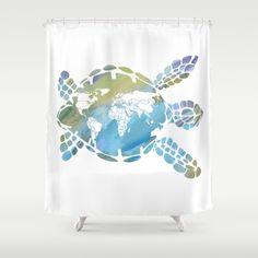 Meeresschildkröte Duschvorhang  Mutter Erde  von ArtfullyFeathered