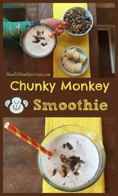 The classic Ben and Jerry's ice cream is recreated into a healthier snack-worthy chunky monkey smoothie recipe. to Mom Nutrition- Katie Serbinski, MS, RD Easy Smoothie Recipes, Yummy Smoothies, Good Healthy Recipes, Baby Food Recipes, Toddler Recipes, Kid Recipes, Cooking Recipes, Toddler Smoothies, Healthy Toddler Snacks