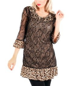 Look at this #zulilyfind! Black Leopard Ruffle-Neck Tunic #zulilyfinds