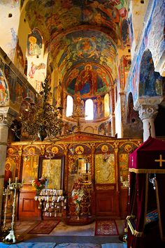 Interior of the Byzantine Orthodox monastery of Pantanassa , showing Byzantine frescos & Icons,  Mystras ,  Sparta, the Peloponnese, Greece. A UNESCO World Heritage Site
