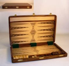 18 Etched Wood Inlaid Folding Backgammon Set, very nice Father's (or Mother's) Day gift! #backgammonboardgames