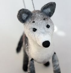Wolf Felt Toy  Ralph Art Toy Marionette Gift for by TwoSadDonkeys
