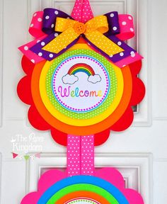 Rainbow Door Sign Rainbow Birthday Party XL by thepaperkingdom Rainbow Parties, Rainbow Birthday Party, Diy Birthday, Birthday Door, Preschool Christmas Crafts, Crafts For Kids, Birthday Gifts For Bestfriends, Bounce House Birthday, Bumble Bee Birthday