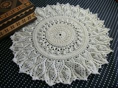 Beige crochet doily 15,5 inches Round crochet doily Lace doily Textured doily White crochet doily Table topper Centrepiece Table décor - pinned by pin4etsy.com