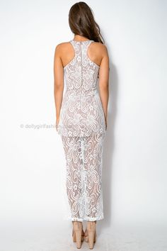 Met Gala Dress - Beige & White Lace Dress Dolly Girl Fashion New Year's Eve dress outfit designer front split nude sheer beautiful $57.95 back