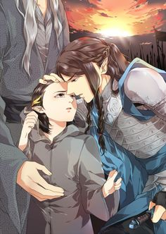 Great was the lamentation in Hithlum when the fall of Fingolfin became known, and Fingon in sorrow took the lordship of the house of Fingolfin and the kingdom of the Noldor; but his young son Ereinion (who was after named Gil-galad) he sent to the Havens. ~ The Silmarillion, Chapter 18 (Fingon and Ereinion by Luperce)
