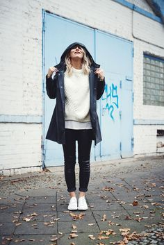 Find all the details on my blog | wearing a rain coat from Stutterheim and marble sneakers | November