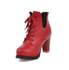 WeiPoot Womens Round Closed Toe Lowtop High Heels Solid PU Boots Red 32 -- You can get more details by clicking on the image.
