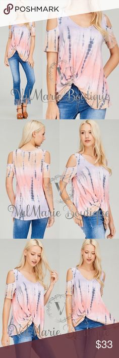 "CLEARANCE STUNNING Tie Dye Cold Shoulder Top MADE IN USA- SO SOFT AND TRENDY. Fits true to size. Made of 96% rayon, 4% spandex. Bust laying flat: S 17"" M 18.5"" L 20"" - length from top to bottom knot in shirt is 23"" but length from top to bottom of shirt is 28.5"". These are gorgeous and hand dyed so might have SLIGHT variations in the tie dye. Get them now. Price firm as these are brand new with tags directly from my boutique. S(2-4) M(6-8) L(10-12) ValMarie Boutique Tops"