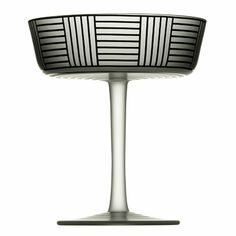 """The Hoffman Series B Champagne Cup by Josef Hoffmann was first produced in 1912. The cup features clear mouth blown mat crystal with hand painted enamel. This technique, in which a crystal surface is decorated in a brownish-black enamel, is called """"Bronzitdekor"""" and was developed by Hugo Max only a short time previous to the design of Series B."""