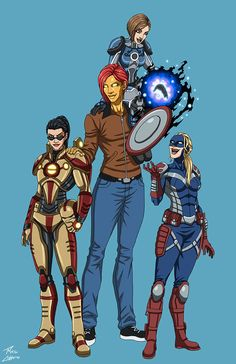 Justice Girls (Iron Beauty, Kirsten Stomper, Lilly Stomper, and Comanderette America) commissioned by Greg Erodi. Friends - a Justice Girls commemorative