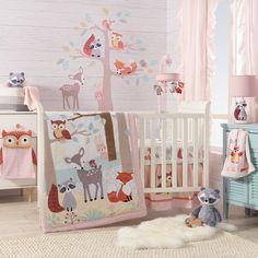 Forest Crib Bedding, Woodland Nursery Bedding, Baby Crib Bedding Sets, Crib Sheets, Baby Cribs, Fox Nursery, Forest Nursery, Nursery Crib, Pink Bedding