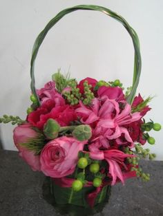 flower purse  pink flowers centerpiece www.tablescapesbydesign.com https://www.facebook.com/pages/Tablescapes-By-Design/129811416695