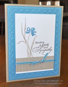 "By Beth McAlexander. Uses stamps from ""Love and Sympathy"" and the tulips embossing folder, both by Stampin' Up."