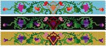 Floral Trio Bracelets Pattern.   One design, 3 color combinations for a totally different look for each. Graphs given in color code mode.  Project Type: Bead Stitch: peyote Beads Used: Delica