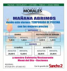 """¡EMPEZAMOS LA TEMPORADA DE VERANO! Hola, amigos, informaros que desde mañana estarán abiertas al público las instalaciones de las piscinas de Morales del Vino, y el Restaurante Maradela.  ¡¡OJO:!! ¡HEMOS BAJADO LOS PRECIOS de las tarifas de baño y abonos, y para los Moralinos, regalo de 5 baños más para los peKes... Todos los días, nuestro """"menú del día"""" ¡a 11,00 eur! Siempre, con la garantía, calidad y servicio que sólo Sancho 2 ofrece. ¡¡ OS ESPERAMOS !"""