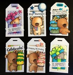Tag gift Tags with bear crittters cake gifts and balloons MFT beary special birthday MFT Blueprints Tagbuilder 5 Die-namics #mftstamps - StjerneSus design