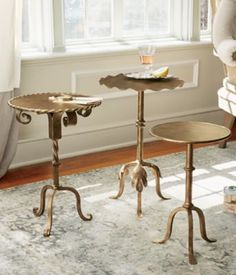 Martini Side Table - Pompe - Leaf Scroll Side Table, Small Iron Side Table   Soft Surroundings