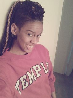 Senegalese twists and shaved haircut