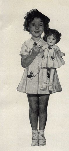 Shirley Temple with Shirley Temple doll for propaganda ,1935.