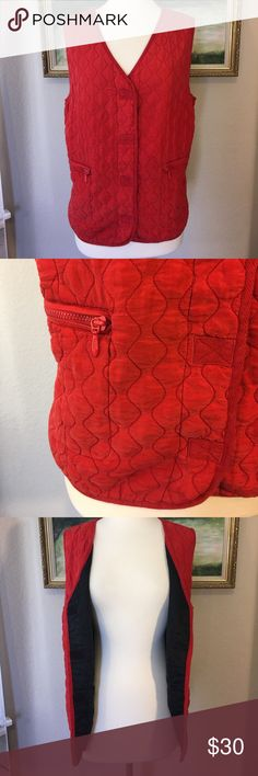 "🎀Carole Little Silk Reddish Orange Quilted Vest🎀 This Carole Little Street Wear vest is more of an orange red color, quilted on the outside, all silk with acetate lining. It's a vest you'd throw over your top if it's cold out and you're taking a walk or something. It's a size L and I pinned it because my dress form is so small but this could easily fit a size 12-14. The measurements are 26"" long, pit to pit measures 22"" as well as the same at waist and bottom. It's in excellent condition…"