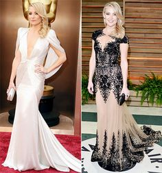 Kate Hudson swapped her Atelier Versace gown for a black-and-nude illusion gown from Zuhair Murad's spring 2014 couture collection for the V...