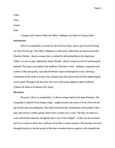 Compare And Contrast Essay Topics For High School  The Yellow Wallpaper Essay Topics U The Yellow The Thesis Statement Of An Essay Must Be also My English Class Essay The Yellow Wallpaper Setting Analysis Essay  Selected Writings Of  Essay Paper Topics