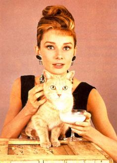 Audrey Hepburn and the cat from Breakfast at Tiffany's