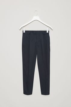 COS image 5 of Relaxed cotton twill trousers in Navy