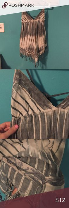Urban Fringe Tie Back Tank Top great condition Urban Outfitters Tops Tank Tops