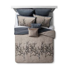 Blue & Taupe Embroidered Hexton Comforter Set (King) - image 1 of 3 Bedroom Comforter Sets, Blue Comforter Sets, Floral Comforter, Queen Bedding Sets, Fur Comforter, Bedspread, Bed Top View, Taupe Bedroom, King Size Comforters
