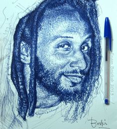 Hailing from Ghana, Enam Bosokah uses a blue biro pen to draw stunning portraits of people. Bosokah captures the spirit of each person in. Portraits, Portrait Art, Marker, Stylo Art, Ballpoint Pen Drawing, Natural Hair Art, Artist Pens, Ink Drawings, Drawing Faces