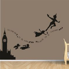 Clock Tower PETER PAN never never land flying childrens nursery vinyl decor wall mural decal silhouette