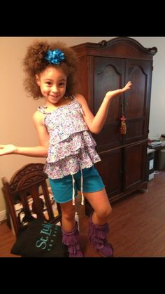 Biracial little girl with fashion