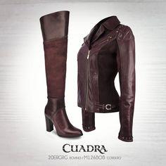 Hechos para estar juntos. #cuadra#moda#fashion#boots#chamarra#leatherjacket#leather#tinto#bota#dama