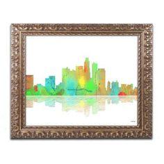 Trademark Fine Art Los Angeles California Skyline Canvas Art by Marlene Watson Gold Ornate Frame, Size: 11 x 14, Multicolor