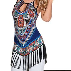 20cf7504885 National cashew tank tops for women fringe tank tops sexy style Gland
