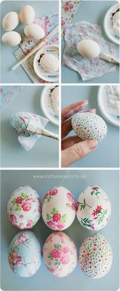 Pretty Awesome Easter Eggs :) one of the best egg decorating ideas out there! You can check these beautiful decoupage eggs plus the tutorial at Craft & Creativity website – enjoy! Easter Projects, Easter Crafts, Easter Ideas, Craft Projects, Hoppy Easter, Easter Eggs, Easter Table, Easter Bunny, Spring Crafts