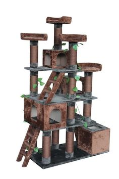 Big Horn Kitty Mansion: Give your cat a taste of nature with this amazing cat tree. Includes four bedroom areas for your cats to hide out in, four high level beds, and multiple scratching posts as they work their way to the top of Big Horn. Also includes realistic looking leaves for added visual effects.