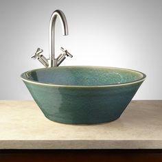 Lysander Hand-Glazed Pottery Vessel Sink - Robin's Egg