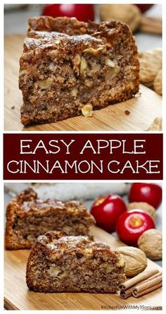Cinnamon Apple Cake - Easy and Moist Delicious Cinnamon Apple Cake recipe. This is such a yummy cinnamon bread. Apple Cake Recipes, Easy Cake Recipes, Baking Recipes, Bread Recipes, Apple Recipes Easy, Easy Fruit Cake Recipe, Easy Apple Desserts, Spice Cake Mix Recipes, Green Apple Recipes
