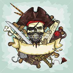 Пиратский череп логотип — стоковая иллюстрация #43418789