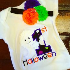 First Halloween Ghost Onesie. Applique. Embroidered. Halloween. Happy Halloween. Spooky. Scary. Personalize. Custom. Kid. Toddler. Shirt. by SEPBoutique on Etsy