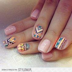 beige, boho, colors, geometric, nail art, nail design, nails, polish