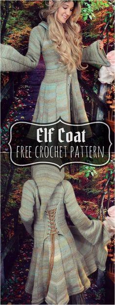 Elf coat pattern medium morale fiber free crochet clothes idea crochet dresses trousers and casual dresses 2019 page 28 of 41 Cardigan Au Crochet, Crochet Coat, Crochet Shawl, Crochet Stitches, Crochet Sweaters, Cardigan Pattern, Knitted Coat Pattern, Crochet Jacket Pattern, Crochet Pants