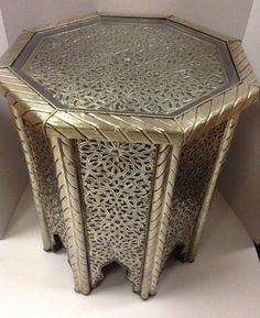 Moroccan Octagonal Table Engraved Metal  Wood Arabic Design Furniture Glass Top #Handmade #Moroccan
