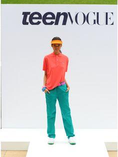 efda5ec783a1 Danica wears a Lacoste polo. American Apparel pants. Adidas shoes. American  Apparel visor