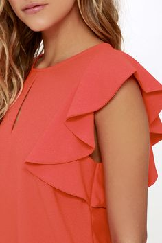 Look and feel like a million bucks when you style the Feeling Flirtatious Coral Red Top! Textured woven fabric sweeps across a bateau neckline (with front keyhole) to fluttering ruffled sleeves, and a relaxed bodice. Back keyhole has a silver top button. Dress Sketches, Modest Fashion, Fashion Top, Silver Tops, Business Casual Outfits, Bateau Neckline, Red Blouses, Dress Patterns, Ruffle Blouse