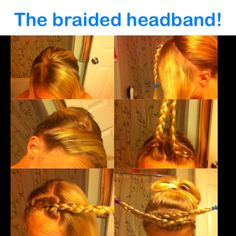 The braided headband! Separate so there's a straight line, French braid one side (only take hair from the side closest to your face) and stop at the middle (braid the rest of the hair normally and tie with an elastic). Do the other side the same way. Style the rest of your hair (tie it back, curl it, straighten it, ect). Then take the braids, twist them so they're on the opposite sides of your head and pin them. TIP: try to pin them so you can't see the bobby pins. Spray with hairspray…